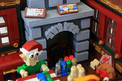 Elves' Workshop (jsnyder002) Tags: lego moc creation model alllego scene immersive workshop northpole elves santa house interior chest table gifts toy micro game fireplace stone technique wall wood curtain window floor snot design robot car elf