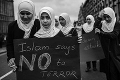 No to terror!!! (ChrisJWake) Tags: london londoncity london2017 2017 westminster bigben street streetphotography streetlife streetportrait urban closeup people blackandwhite blackwhite bnw bw monochrome muslim islam terror child hijab nikon d4s nikkor 35mm 35mmf14g 35mmlens photojournalism photojournalist groupshot