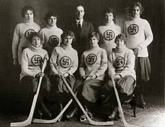 Swastika Girls Hockey (kevin63) Tags: lightner photo women kitsch bitsch facebook old vintage pictures gils sweaters athletic hockey sticks swastika team skirts coach teacher man 1900s twentiethcentury blackandwhite