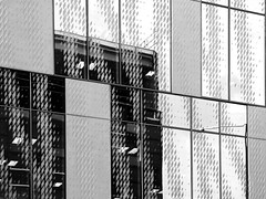 Window Designs (Steve Taylor (Photography)) Tags: art architecture design building window monochrome blackandwhite monotone glass newzealand nz southisland canterbury christchurch city pattern reflection pwc centre warrenandmahoney