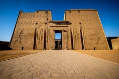 First Pylon (mikeriddle1984) Tags: egypt egyptian travel temple nile adventure ancient history horus hieroglyphics sandstone carving religion power historic gold golden sky blue