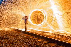 Spark up your life ⚡️ (mangospoops) Tags: pose teen model track abandoned abandon lighting overpass bridge trains tunnels tunnel tag tags art graffiti tracks train slowshutter lights sparks spark glow light lightpainting nightphotography painting