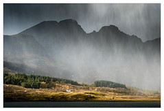 Downpour - in explore (Dave Fieldhouse Photography) Tags: lochslapin scotland isleofskye highlands blackcullin cullins weather cottage loch mountains hailstorm rain sunlight trees forest landscape outdoors wilderness march2017 fuji fujifilm fujixt2