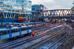 The yard (fredrik.gattan) Tags: toy mini tilt shift train trains yard trainyard city cityscape buildings bridge tracks lines evening sundbyberg solna stockholm sweden railroad