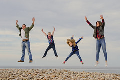 Jump, Jump, Jump & Jump some more.. (Scottish Mary Moo) Tags: family fun familyphotoshoot jumping happy pebbles beach shoreline speybay moray highlands scotland