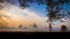 Kid's Playtime - Agra, India (Kartik Kumar S) Tags: tajmahal taj agra uttarpradesh mehtab bagh sunrise clouds colors borders fences canon 600d tokina 1116mm sunset kids children people light play run