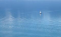 Ripples on the blue azure (zinnia2012) Tags: lake sailingboat azureblue switzerland 7dwf zinnia2012 waterscape eau lac bateau minimalism