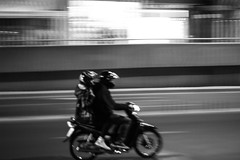 Together Forever (Dimenov) Tags: street bw white motion black blur monochrome bike boulevard ride motorcycle