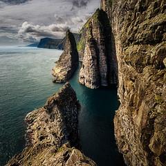 Out on the Edge (Bo47) Tags: sea nature water clouds europe view cliffs done geotag atlanticocean hdr highdynamicrange faroeislands 2012 bo47 vagar vgar thefaroeislands nikkor1424mmf28 nikond800 bonielsen behindtheaction wwwjustwalkedbycom wwwbonielsenme
