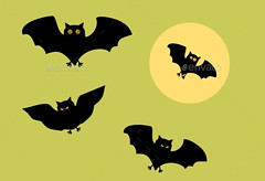 Halloween_bat_silhouettes (ragerabbit) Tags: trees moon holiday castle halloween grass set cat fence dark pumpkin skull wings eyes funny wolf spiders stones cartoon scarecrow silhouettes illustrations owl bones ghosts creatures celebrate vector bats