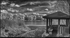 Sony NEX-7 infrared with Leica Elmarit-M 28mm/2.8 ASPH (Dierk Topp) Tags: leica wood trees bw water clouds ir see wasser pano sony himmel wolken infrared sw monochrom wald bäume reinfeld herrenteich nex7 leicaelmaritm28mm28asph nex7ir