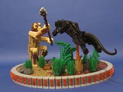 "What the cat ate 500 000 years ago. (Deus ""Big D."" Otiosus) Tags: by cat lego air pillar evolution suspended prehistoric panther caveman blahblahblah moc diarrhea pressurized mocolympics"