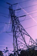Pylon (smallandquiet) Tags: pink postprocessed purple pylon electricity contrejour
