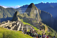 Machu Picchu with Tourists ([visual media]) Tags: morning blue sky people mountains peru southamerica grass inca buildings outdoors ancient day cusco sunny tourist tourists andes destination civilization machupicchu ancien incaruins urubambavalley