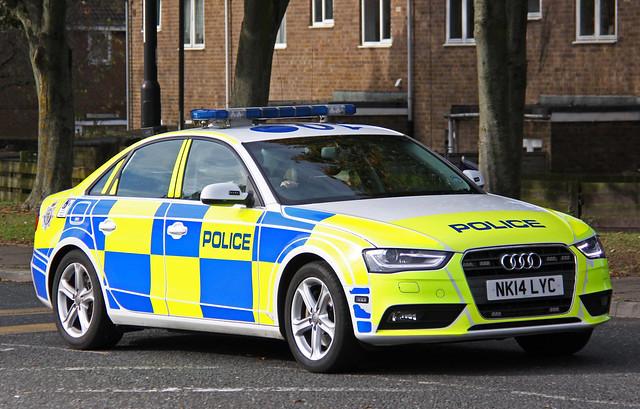 car traffic police northumbria roads a4 audi unit quattro policing nk14lyc