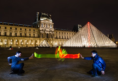 First try at Light Painting! (Romain Vernoux) Tags: light paris france night painting pyramid louvre longexp