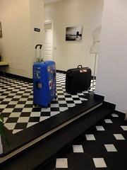 Found a friend (stevenbrandist) Tags: blue italy white black hotel italia genoa genova suitcase checkered checkout sampsonite lenuvoleresidenzadepoca