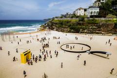 Tamarama Beach (Leighton Wallis) Tags: people sony sydney australia nsw newsouthwales sculpturebythesea pancake alpha 16mm bondibeach f28 fryingpan 2014 tamarama tiltshift mirrorless a7r ilce7r