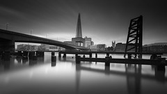 Thames 6 am (vulture labs) Tags: longexposure bridge blackandwhite bw london water sunrise reflections nikon cityscape stop pro riverthames hitech 6am d800 formatt photographyworkshop theshard 1424mm vulturelabs 16stops lucroit d800e irnd