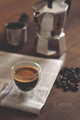 Espresso (Faisal | Photography) Tags: wood morning italy glass coffee photography dof bokeh good espresso faisal canoneos50d