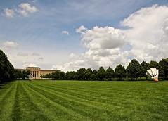 (Abby L's) Tags: park sky sculpture green art grass lines clouds lawn shuttlecock nelsonatkinsmuseumofart kansascitymo donaldjhallsculpturepark