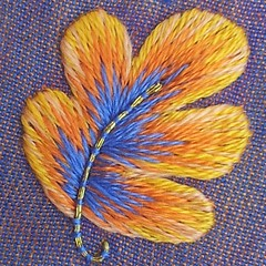 Leaves again.  #embroidery #longandshort #handembroidery #silkshading #threadpainting #brooch #leaf #oakleaf #couching #autumn #stitch #fall #handmade #floss #strandedcotton # (Marg Dier Embroidery) Tags: autumn fall leaf oak stitch embroidery fabric floss handembroidered threadpainting silkshading longandshortstitch englishembroidery uploaded:by=instagram