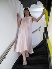 Going downstairs (Paula Satijn) Tags: pink sexy girl shiny soft silk tgirl transvestite slip satin gurl silky nightgown nightdress nightie