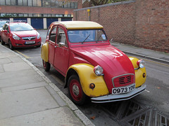 2CV [Explored] (pefkosmad) Tags: auto old city uk red england france car yellow french automobile citroen gloucestershire explore gloucester 2cv cheap economy inexpensive deuxchevaux explored deuxchevauxvapeur twosteamhorses