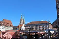 Nuremberg Market (Libra 42) Tags: blue sky canon buildings day market clear eosrebelsl1