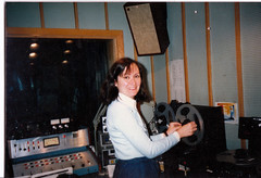 Laura producing For the Birds at KUMD in the 80s. (Laura Erickson) Tags: family people laura kumdstudio