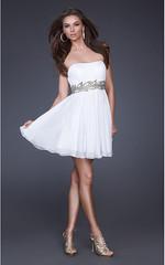 White Vine Detail Waist Strapless Short Prom Dress (fashionwbcom) Tags: black dress tight sparkly
