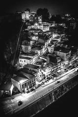 10.2014   Porto, Portugal (Sabine Scheller) Tags: street city travel white black portugal night buildings river photography hills porto douro gr nightlife ricoh batalha 18mm 2014 pontedomluisi sabinescheller funiculardosguindais