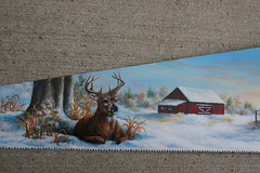 """Winter Cabin Barn & Deer (sherrylpaintz) Tags: wood flowers original trees winter sunset sky usa snow nature stone pine barn forest sunrise woodland river painting season cabin fireplace colorful acrylic natural ooak decorative painted wildlife smoke country logs indiana deer buck patina northwoods realism primitive décor realistic 2014 """"red art"""" artist"""" """"winter handsaw trees"""" wood"""" """"weathered painting"""" """"wall """"wildlife """"folk """"log """"pine saw"""" foliage"""" cabin"""" """"acrylic """"whitetail barn"""" blade"""" """"saw buck"""" sherrylpaintz """"disston"""
