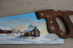 """Winter Cabin Farm, & Buck (sherrylpaintz) Tags: wood flowers original trees winter sunset sky usa snow nature stone pine barn forest sunrise woodland river painting season cabin fireplace colorful acrylic natural ooak decorative painted wildlife smoke country logs indiana deer buck patina northwoods realism primitive décor realistic 2014 """"red art"""" artist"""" """"winter handsaw trees"""" wood"""" """"weathered painting"""" """"wall """"wildlife """"folk """"log """"pine saw"""" foliage"""" cabin"""" """"acrylic """"whitetail barn"""" blade"""" """"saw buck"""" sherrylpaintz """"disston"""