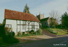 the street (amazingstoker) Tags: thestreet old basing street hampshire vintage style postcard 1960s 1970s cottage st saint marys church
