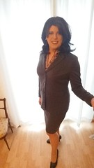 march 2017 -  well suited for home office (cilii_77) Tags: crossdresser cd transgender satin blouse elegant skirt suit office wear lipstick makeup