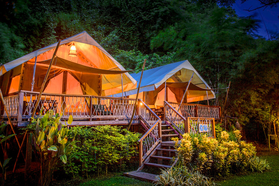 Hintok River Camp overlooks the River Kwai in Thailand