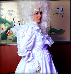 White Satin and Lace (jensatin4242) Tags: sissy crossdresser transvestite jensatin frilly sissybride satingown whitesatin bridalgown bighair