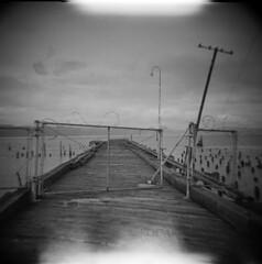 Astoria #14 (LowerDarnley) Tags: holga astoria oregon oregoncoast columbiariver pier fence barbedwire pole lightleaks pilings kodak washington