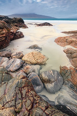 Coastal Rock Formations, Luskentyre Beach, Isle of Harris, Scotland (MelvinNicholsonPhotography) Tags: luskentyrebeach luskentyre isleofharris harris outerhebrides scotland coastal rocks ocean aqua sky taransay
