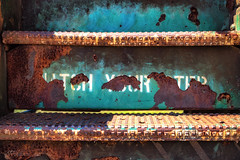 Watch Your Step (Jae at Wits End) Tags: word pattern corroded writing textured staircase rust texture blue color steps text oxidized letters oxidation patina architecture rusty corrosion decay shape metal