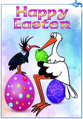 Happy Easter (pinktigger) Tags: easter stork ibis egg photoshop illustrator drawing cartoon
