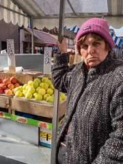 Woman at fruit stand (LYSVIK PHOTOS) Tags: streetphotography fruitstand ireland street photography dublin outdoors colorimage fruit horizontal manmadelandscape people