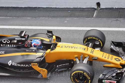 Jolyon Palmer in his Renault in Formula One Winter Testing 2017