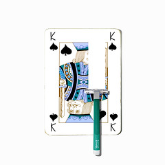 king of spades (brescia, italy) (bloodybee) Tags: 365project playingcards cards play game k king spade razor blade shave humor fun stilllife white black square