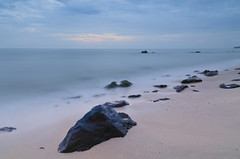 The Overcast Substitution (Zur@imiAbro@d) Tags: desaru malaysia seascape sunrise overcast longexposure johor rocks beach waves nosun zurimiabrod