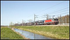 20170325 CT 1618 + Gefco autotrein, Baambrugge (41366) (Koen Brouwer) Tags: 41366 gefco autotrein autos baambrugge bentheim trein train zug abcoude sunny captrain 1618