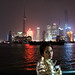 Girl in the Gold Jacket - Skyline at Night - Shanghai, China