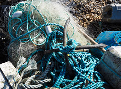 Blue and white tangled (S's images) Tags: seaside esplanade beach blue white abstract rope knots fishing line anchor