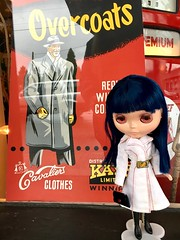 "Tsuki (ABE) compares her 1972 Barbie ""White n With it"" coat to this gentleman's 1950s coat."